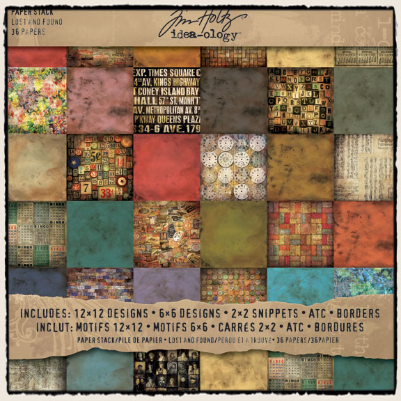 Tim holtz idea ology paper pack lost and found for Tim holtz craft mat